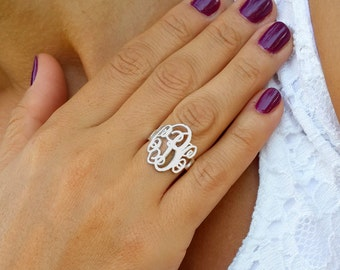 Monogram Initial Ring - Custom Made Ring with any initials you wish - 925 Sterling Silver