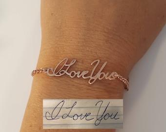Handwriting Bracelet • Custom Actual Handwriting Jewelry • Signature Bracelet • Memorial Personalized Keepsake Gift • Christmas gift