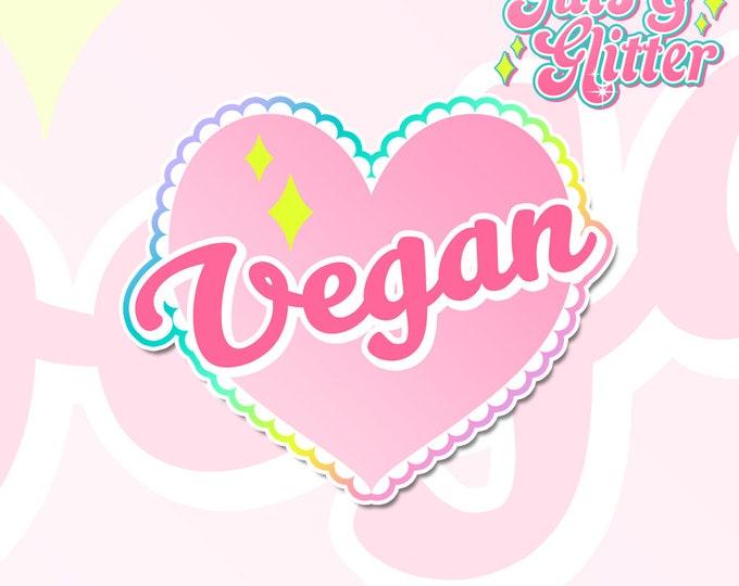 Vegan Heart White Vinyl Sticker Set