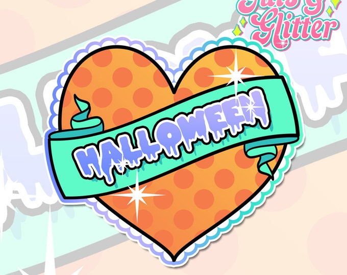 Halloween Heart Holographic Sticker