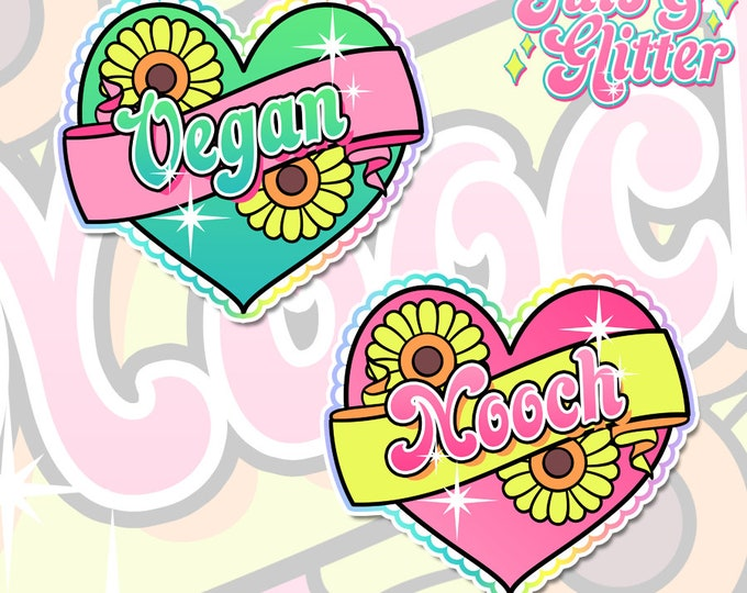 Vegan / Nooch Heart, Choice of Colour Holographic Sticker