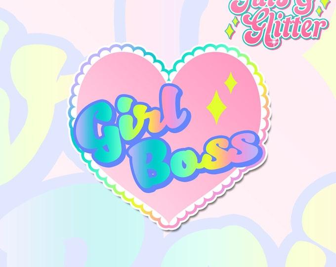 Girl Boss Feminist Heart Holographic Sticker