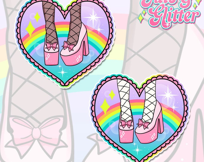 Pink Platforms Holographic Sticker