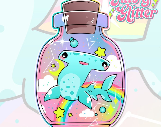 Hammerhead Shark Kawaii Rainbow Holographic Sticker