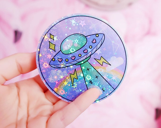 UFO V2 Ancient Egypt Alien Holographic Sticker