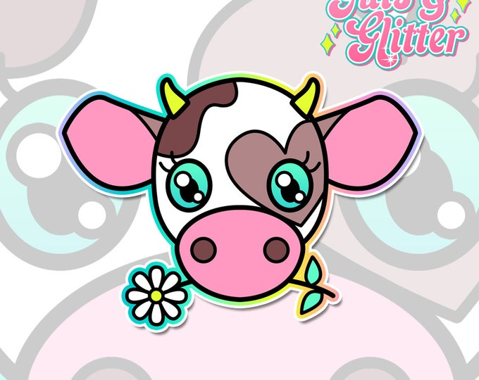 Cute Cow Holographic Sticker