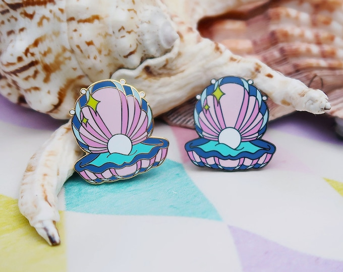Purple and Pink, Mermaid Clam Shell, Hard Enamel Pin