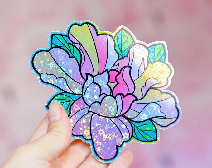 Peony Flower Holographic Sticker