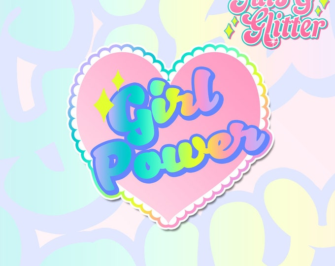 Girl Power Feminist Heart Holographic Sticker