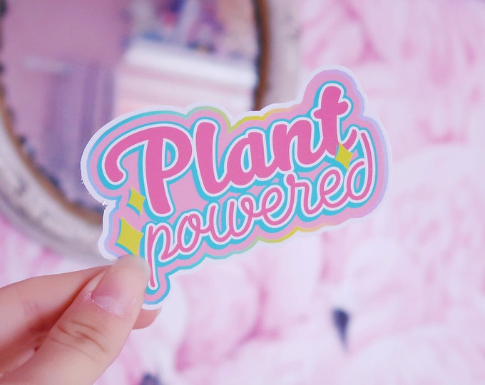 Vegan Plant Powered White Vinyl Sticker