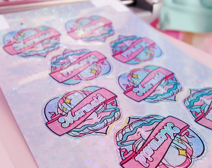 Mermaid Heart Holographic Sticker