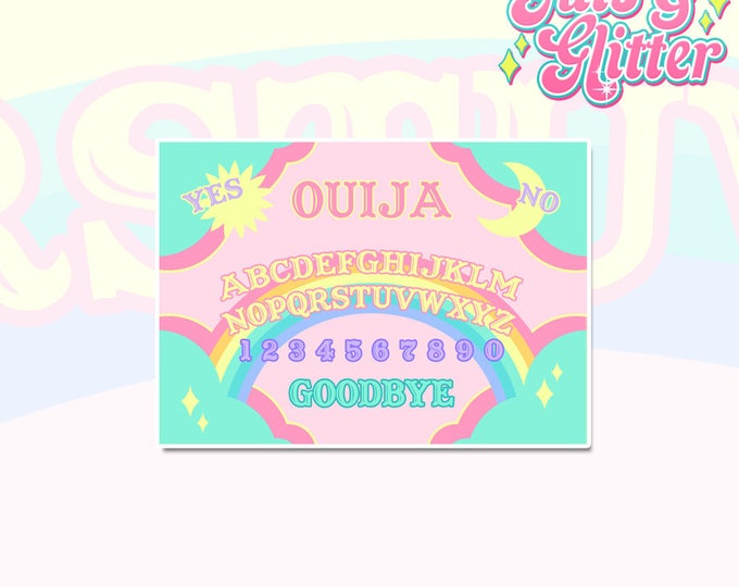 Rainbow Ouija Board White Vinyl Sticker
