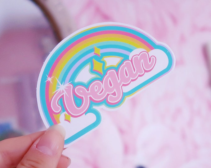 Vegan Rainbow White Vinyl Sticker