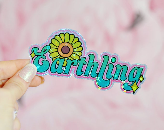 Earthling, Vegan Holographic Sticker