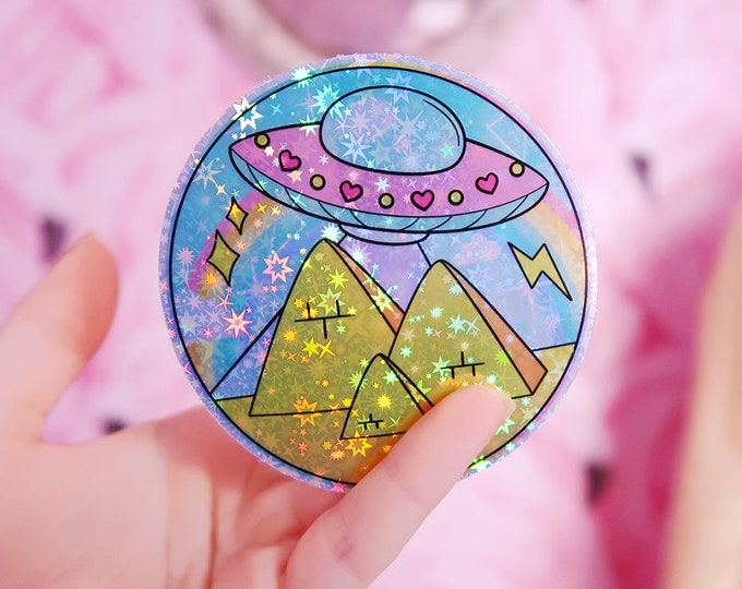 UFO V3 Ancient Egypt Alien Holographic Sticker