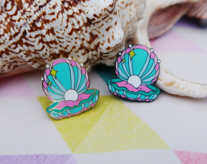 Pink and Teal, Mermaid Clam Shell, Hard Enamel Pin