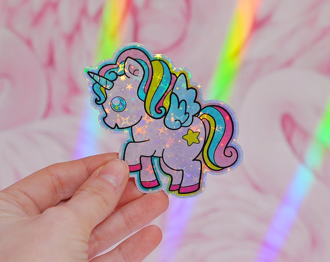 Kawaii Unicorn Holographic Sticker