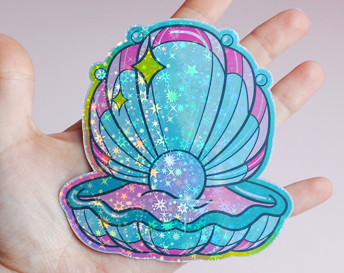 Mermaid Clam Shell Holographic Sticker