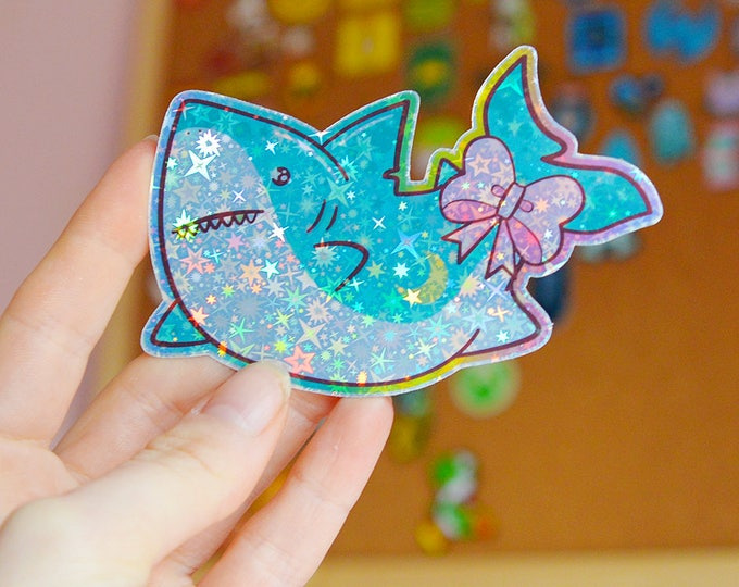 Kawaii Shark Holographic Sticker