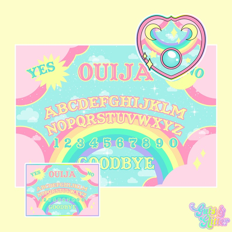 Pastel Rainbow Ouija Board Illustration A3 Archival Fine Art Print and  Sticker Pack