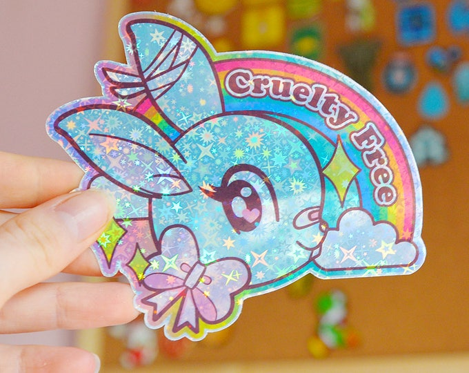 Cruelty Free. Cute Rabbit Rainbow Holographic Sticker