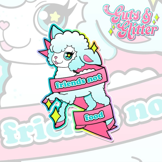 Friends Not Food, Kawaii Lamb Vegan Holographic Sticker