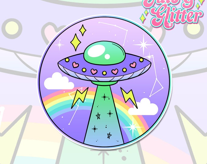 UFO Ancient Egypt Alien Holographic Sticker