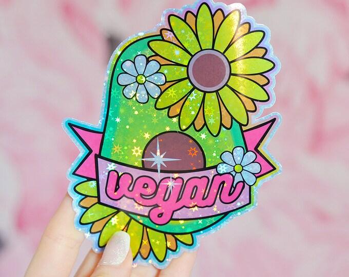 Vegan Avocado Holographic Sticker