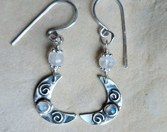 Hand Made Sterling Silver Moon Earrings with Moonstone