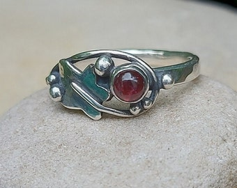 Hand Made Sterling Silver Ivy Leaf Ring set with a Tourmaline