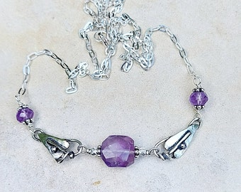 Hand Made Sterling Silver Leaf Necklace with Amethysts