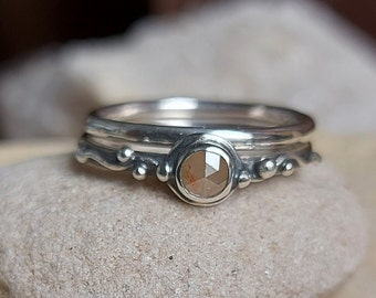 Hand Made Sterling Silver Stacking Water Band set with a Rose Cut Diamond