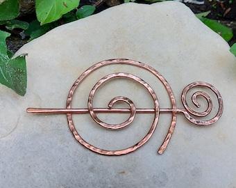 Beaten Copper Spiral Knitwear Pin