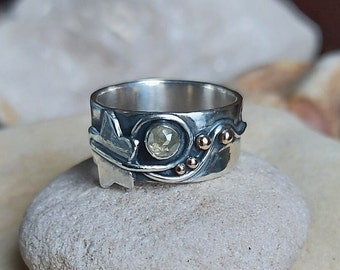 Hand Made Sterling Silver Ivy Leaf Ring set with a Rose Cut Diamond