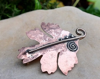 Hand Made Copper Hawthorn Lef Brooch with Silver Detail