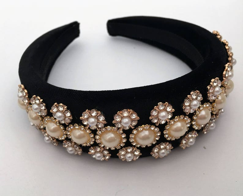 aliceband Stunning Black diamante metal flower design fascinator headband