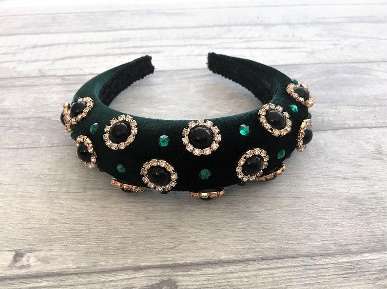 Green velvet Deeply padded Headband with scattered Swarovski image 0