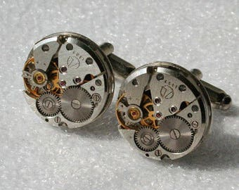 Watch Movement   Cufflinks , Steampunk Cufflinks . Steampunk jewelry , Vintage Clockwork Watch Movement Cuff Links