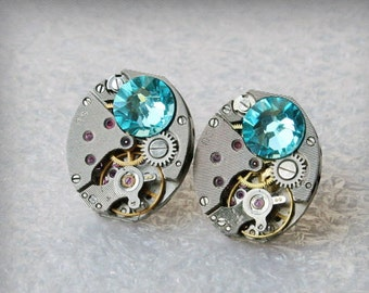 Steampunk Stud Earrings with  Mechanical Watch Movement and Light Turquoise Swarovski crystals , Steampunk Earrings , Steampunk jewelry