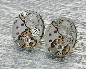 Steampunk Stud Earrings with  Vintage Mechanical Watch Movement  , Steampunk Earrings , Steampunk  Vintage Clockwork Watch Movement Earrings