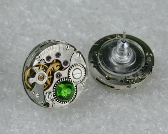 Steampunk Stud Earrings with Mechanical Watch Movement , Fern Green  Swarovski crystals, Steampunk Earrings , Clockwork  Movement earrings