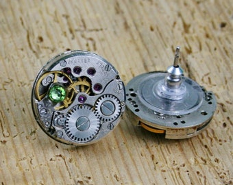 Steampunk Stud Earrings with Mechanical Watch Movement , Small Peridot Swarovski crystals , Steampunk Earrings , Clockwork   earrings