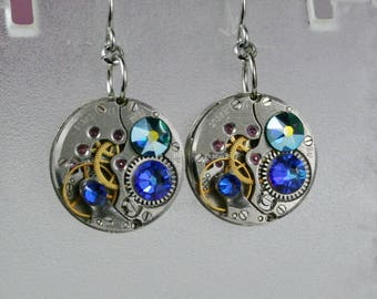 Steampunk Earrings  Vintage Mechanical Watch Movement and  Blue Swarovski crystals , Clockwork Earrings , Steampunk jewelry