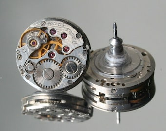 Steampunk Stud Earrings with  Mechanical Watch Movement  , Steampunk Earrings , Steampunk jewelry , Watch Movement Clockwork Earrings