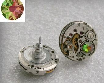 Steampunk Stud Earrings  Mechanical Watch Movement , Crystal Vitrail Medium   Swarovski crystals , Steampunk Earrings , Clockwork  earrings