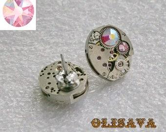 Steampunk Stud Earrings   Mechanical Watch Movement and  Light Rose Aurore Boreale  Swarovski crystals , Steampunk Clockwork Earrings ,