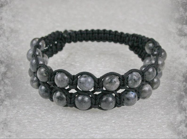 Stone bracelet Labradorite  Bracelet Double men Shamballa bracelet with  8 mm Labradorite  beads