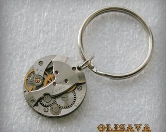 Watch Movement  Steampunk   Keyring , Steampunk   Keychain , Clockwork Keychain , Watch Movement  Keychain
