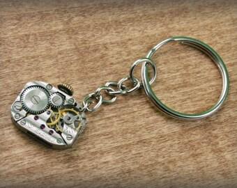 Watch Movement  Steampunk   Keyring , Steampunk   Keychain , Clockwork Keychain