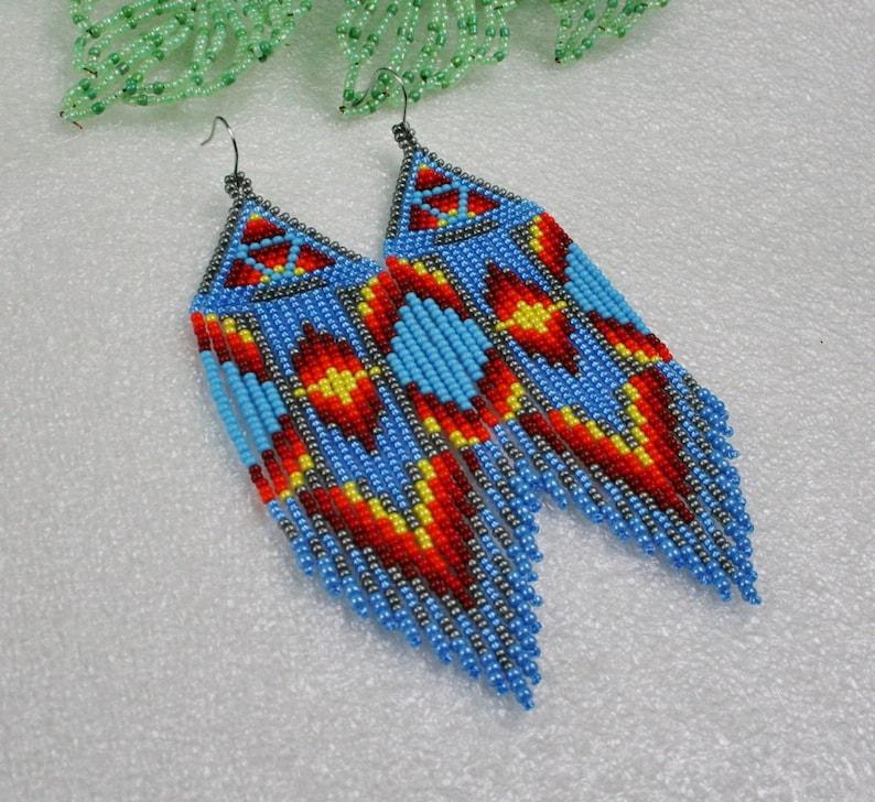 tribal style Fringe earrings boho style Long Indian style beads earrings Ethnic style Native American Beaded Earrings Gift